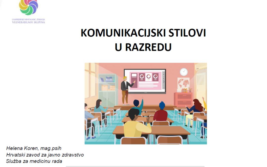 """Održana peta radionica pod nazivom """"Komunikacijski stilovi u razredu"""""""
